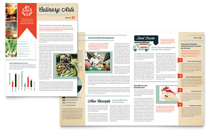 Culinary School Newsletter Template Word Publisher