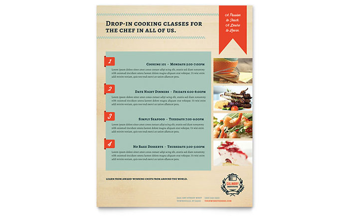 Culinary School Class Flyer Template - Word & Publisher