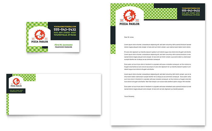 Pizza Parlor Business Card & Letterhead Template - Word & Publisher