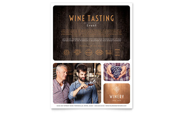 Winery Flyer Template - Word & Publisher
