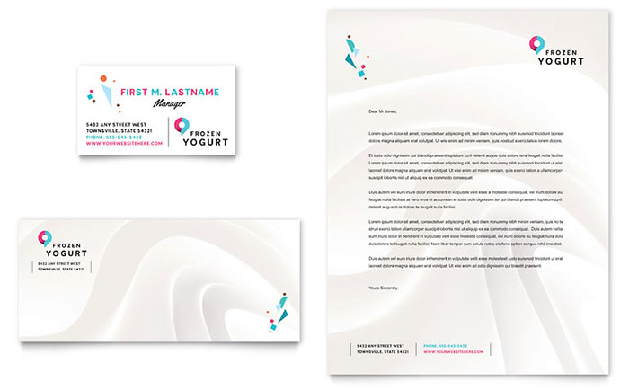 frozen yogurt shop business card  u0026 letterhead template