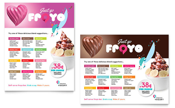 Frozen Yogurt Shop Poster Template Download - Word & Publisher - Microsoft Office