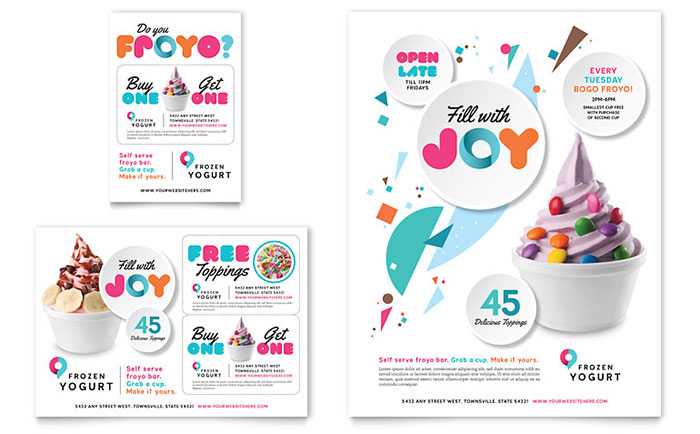 frozen yogurt shop flyer ad template word publisher