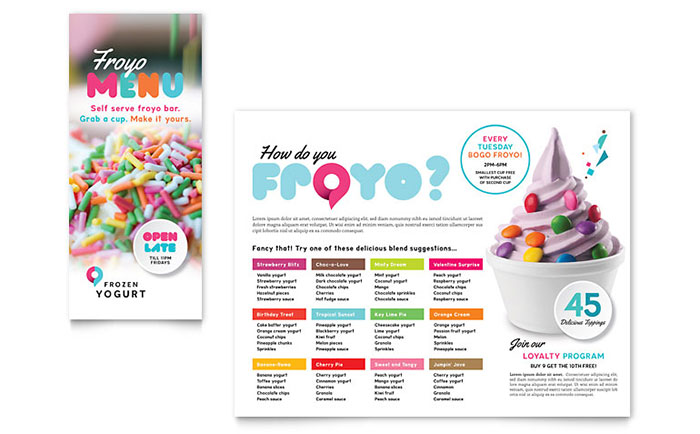 Frozen Yogurt Shop Take-out Brochure Template - Word & Publisher