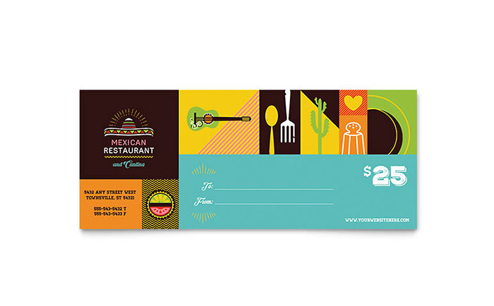 Mexican Food & Cantina Gift Certificate Template - Word & Publisher