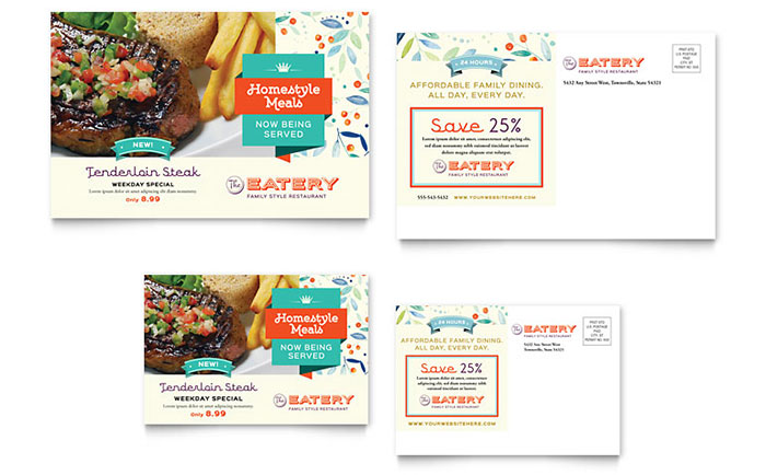 Family Restaurant Postcard Template - Word & Publisher