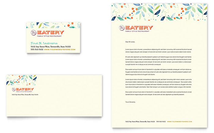 Family Restaurant Business Card & Letterhead Template - Word & Publisher