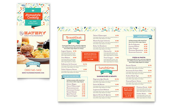 Family Restaurant Takeout Brochure Template Word Publisher