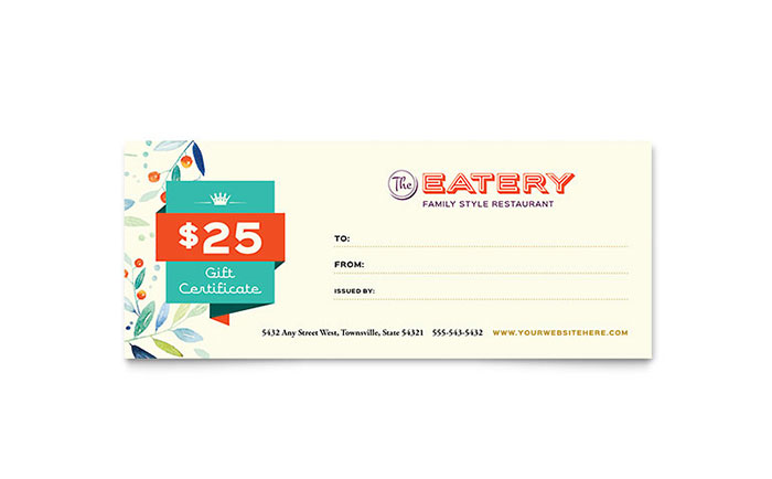 Family Restaurant Gift Certificate Template Word Publisher
