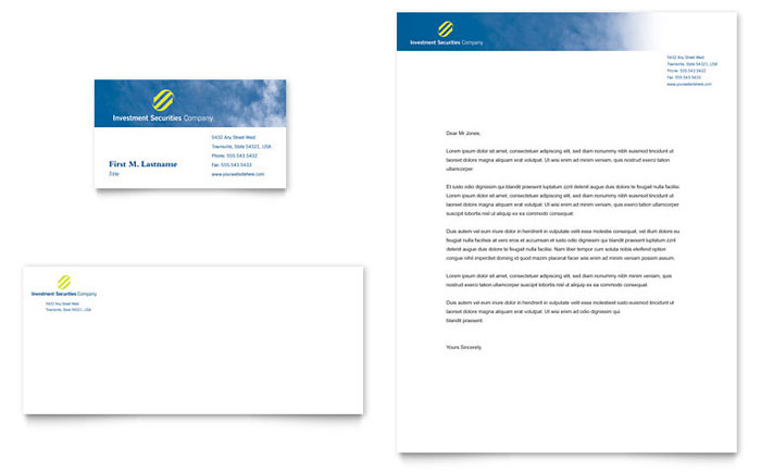 Investment Securities Company Business Card Letterhead Template – Business Letter Heading Template