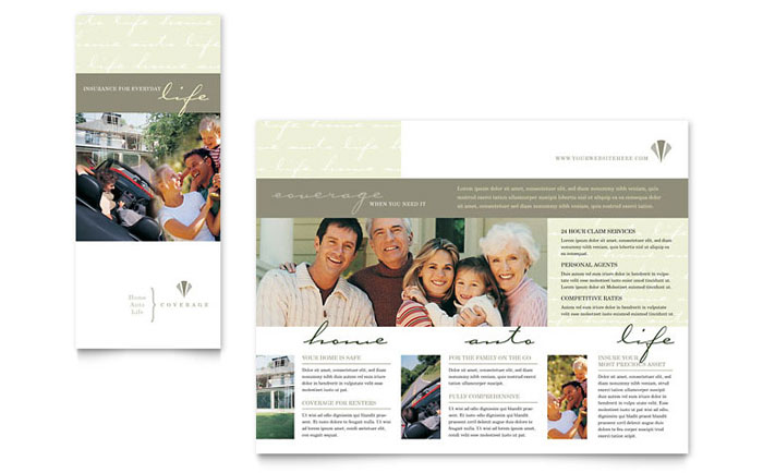 Life & Auto Insurance Company Brochure Template - Word & Publisher