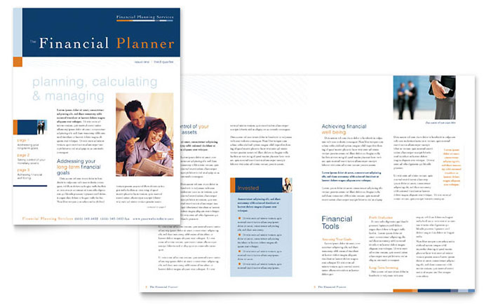 Financial Planning Consulting Newsletter Template Word Publisher