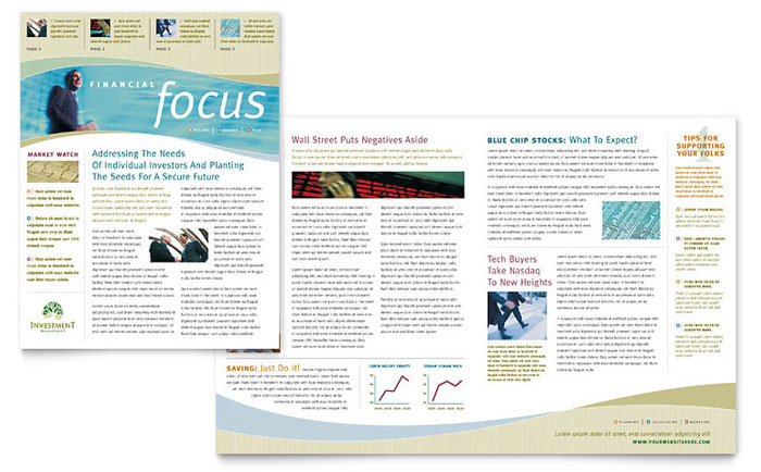 investment management newsletter template word publisher