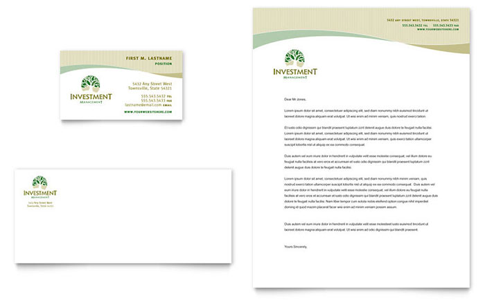 Investment Management Business Card Letterhead Template Word – Free Business Letterhead Templates for Word