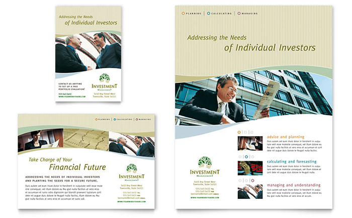 Investment Management Flyer & Ad Template - Word & Publisher