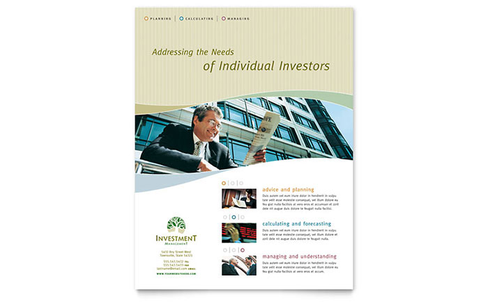 Investment Management Flyer Template - Word & Publisher