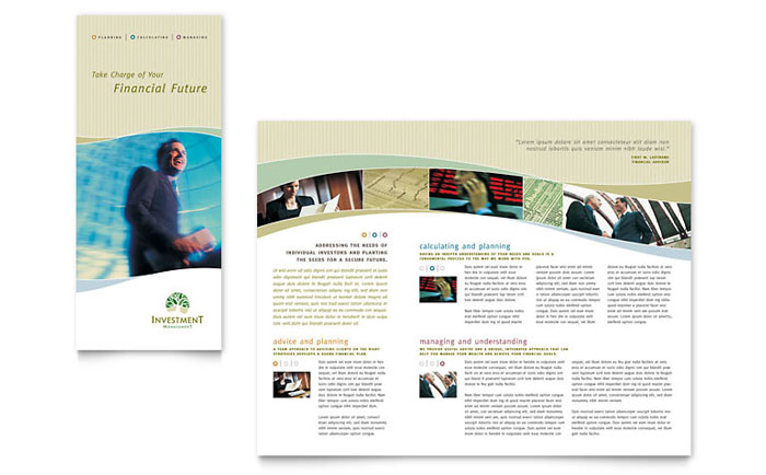 Investment management tri fold brochure template word for Publisher brochure templates
