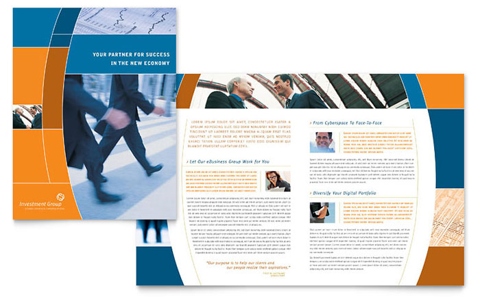Investment services brochure template word publisher for 11x17 half fold brochure template