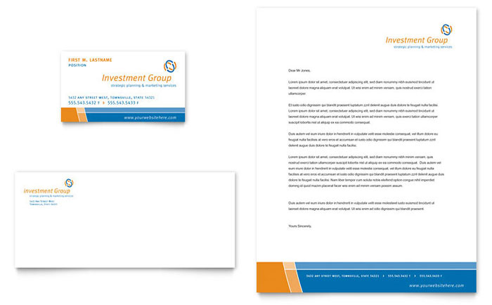 Investment Services Business Card & Letterhead Template - Word & Publisher