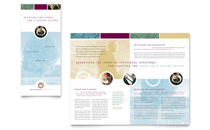 Financial consulting tri fold brochure template word for Microsoft tri fold brochure template