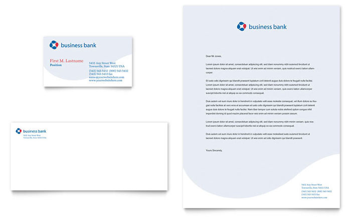 Business Bank Business Card Amp Letterhead Template Word