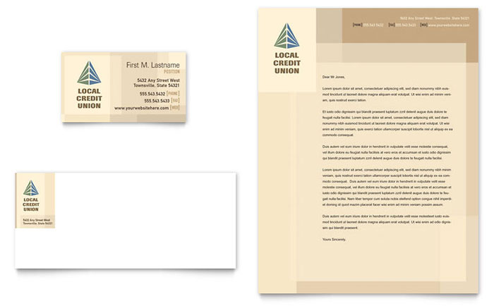 credit union  u0026 bank business card  u0026 letterhead template