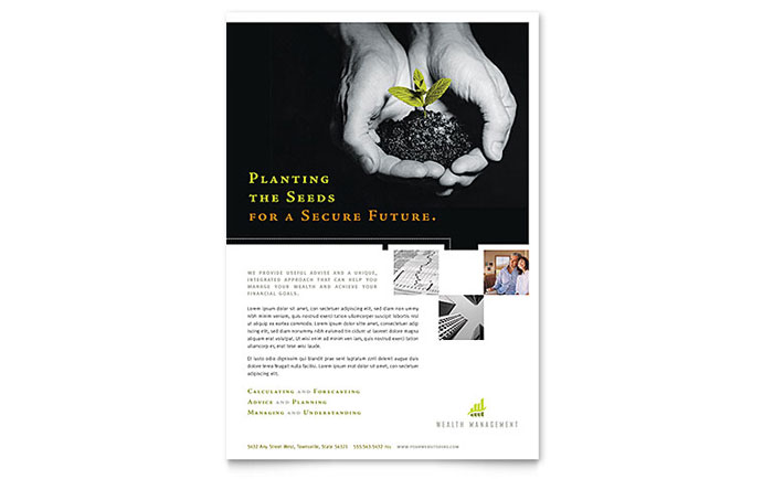 Wealth Management Services Flyer Template - Word & Publisher