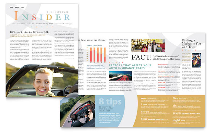 Car Insurance Company Newsletter Template Word Publisher - One page newsletter template publisher