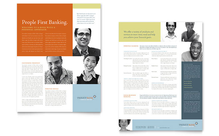 Private Bank Datasheet Template - Word & Publisher