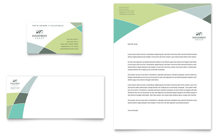 Financial Advisor Business Card U0026 Letterhead Template   Word U0026 Publisher  Business Letterhead Samples