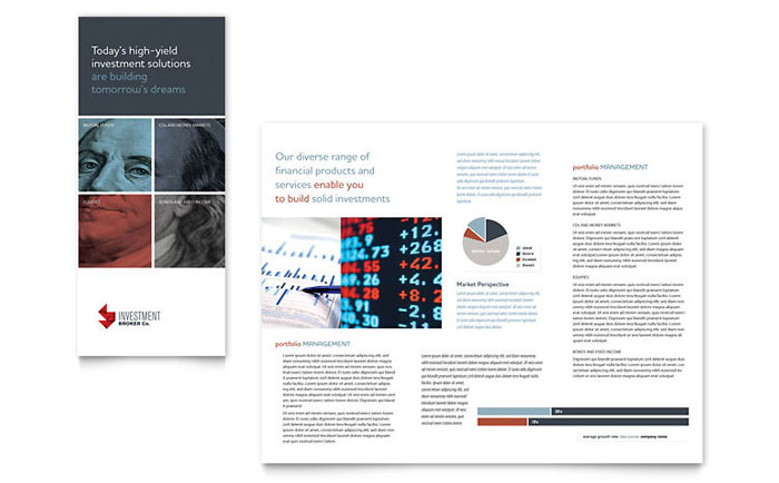 investment bank tri fold brochure template word publisher