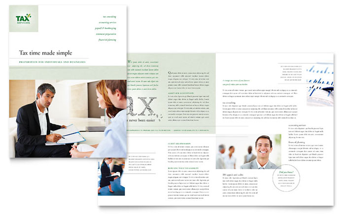 Accounting  Tax Services Brochure Template  Word  Publisher