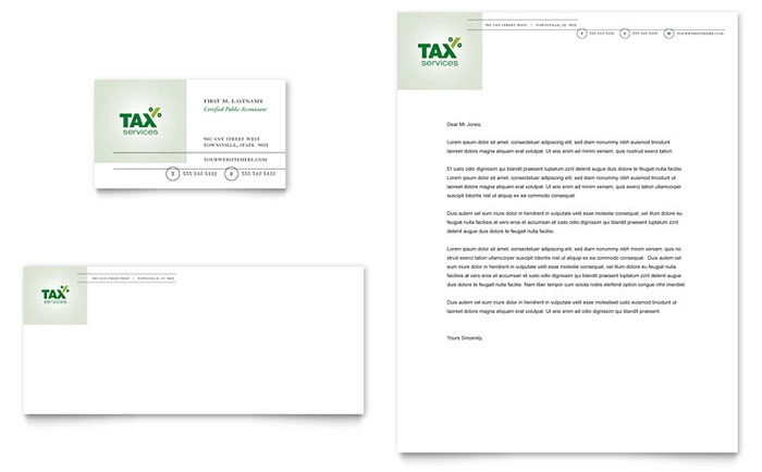 Accounting & Tax Services Business Card & Letterhead Template - Word & Publisher