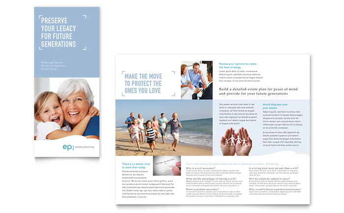 Estate Planning Tri Fold Brochure Template - Word & Publisher