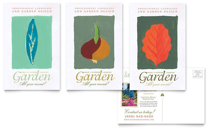 Garden & Landscape Design Postcard Template - Word & Publisher