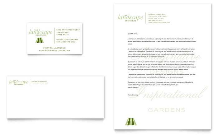 Garden Landscape Design Business Card Letterhead Template Word