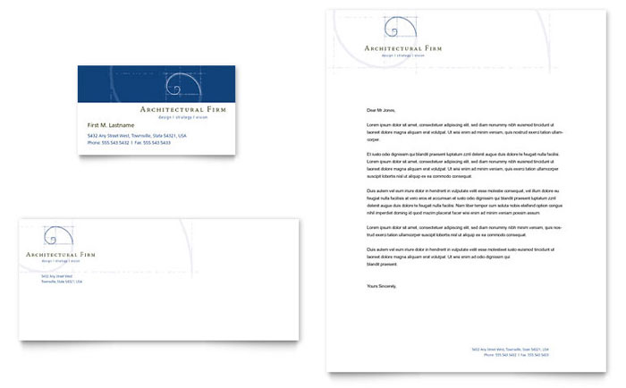 Architectural Firm Business Card & Letterhead Template - Word & Publisher