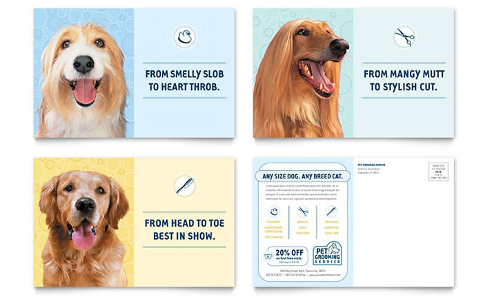 Pet Grooming Service Postcard Template - Word & Publisher