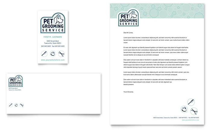 Pet Grooming Service Business Card & Letterhead Template - Word & Publisher