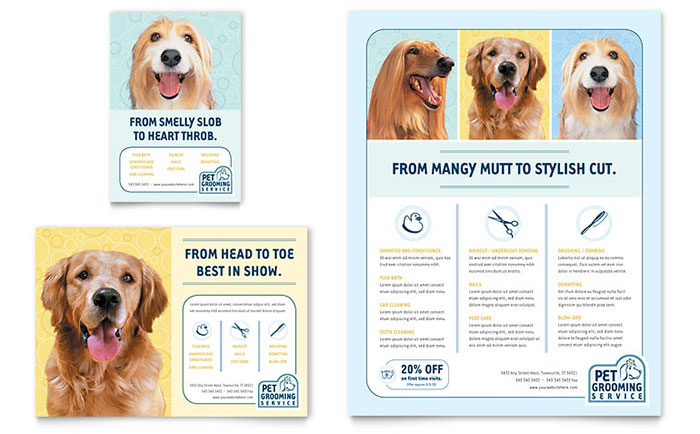 Pet Grooming Service Flyer & Ad Template - Word & Publisher