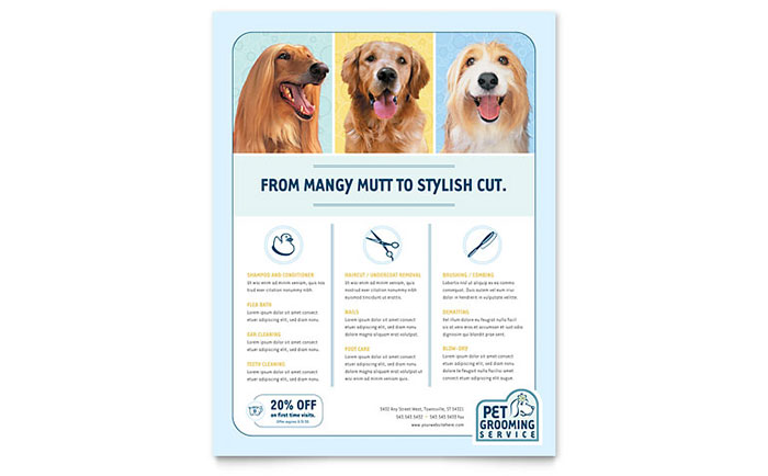 Pet Grooming Service Flyer Template - Word & Publisher