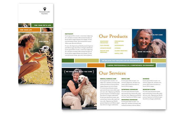 Veterinarian Clinic Brochure Template Download - Word & Publisher - Microsoft Office
