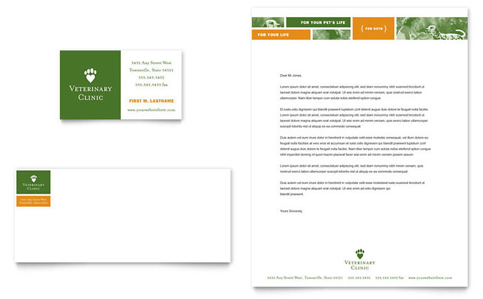 veterinarian clinic business card  u0026 letterhead template