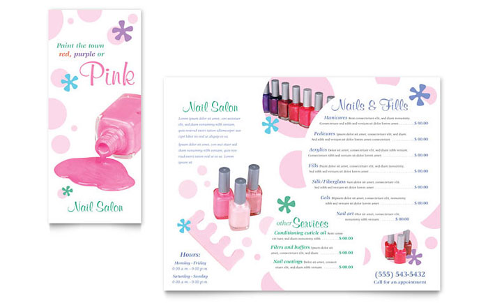 Nail Salon Brochure Template Word Publisher - Price list brochure template