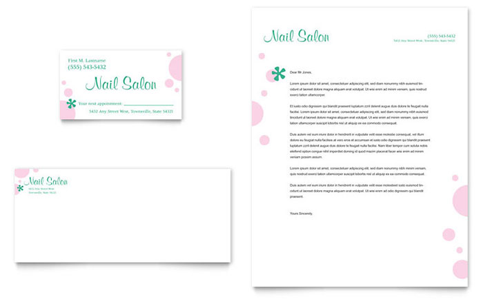 Nail Salon Business Card & Letterhead Template - Word & Publisher
