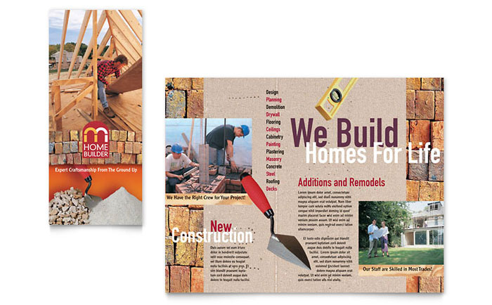 Home builder contractor brochure template word publisher for Construction brochure design pdf