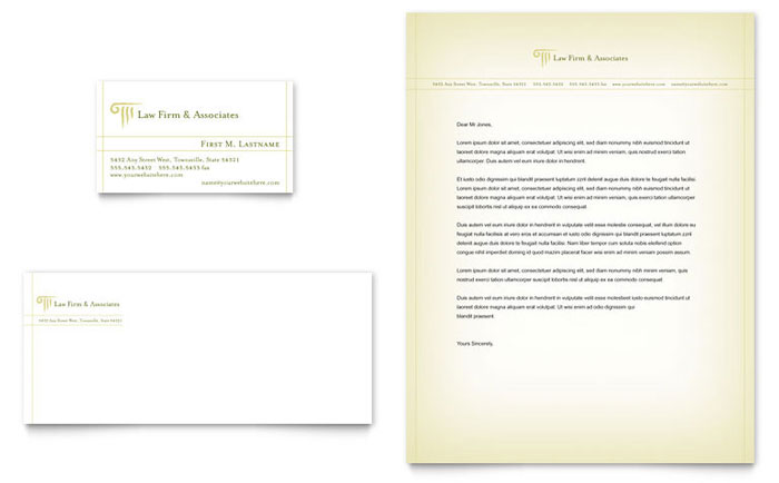 Attorney Legal Services Business Card Letterhead Template Word