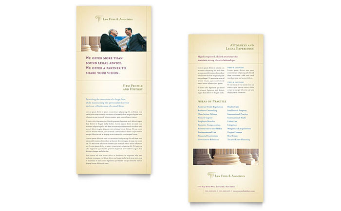 Attorney legal services rack card template word for Rack card template for word