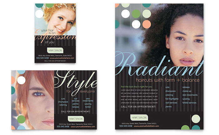 Beauty Hair Salon Flyer Ad Template Word Publisher - Hair salon brochure templates