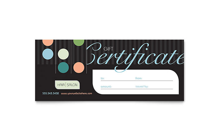 beauty  u0026 hair salon gift certificate template
